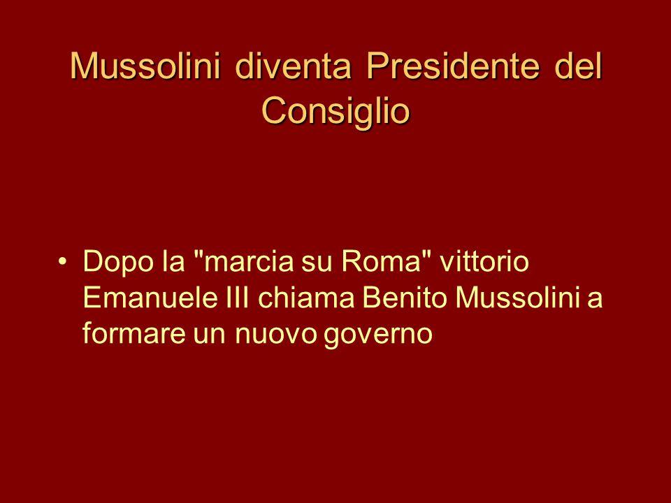 Mussolini diventa Presidente del Consiglio