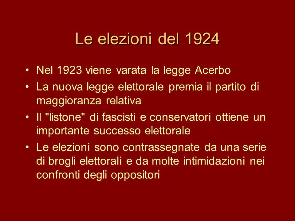 Le elezioni del 1924 Nel 1923 viene varata la legge Acerbo