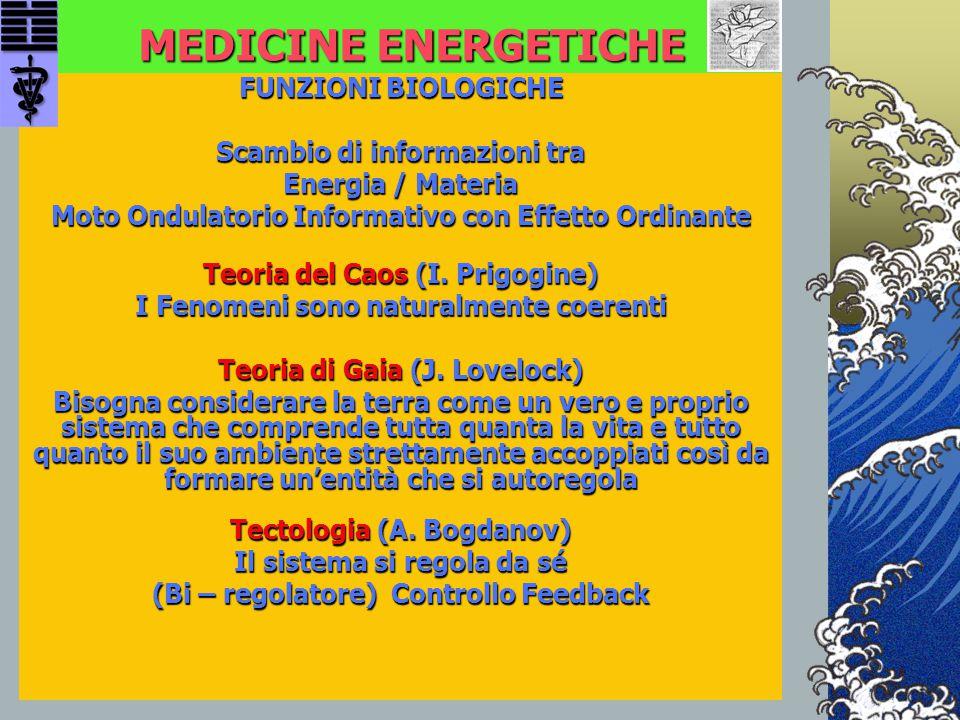 MEDICINE ENERGETICHE FUNZIONI BIOLOGICHE Scambio di informazioni tra