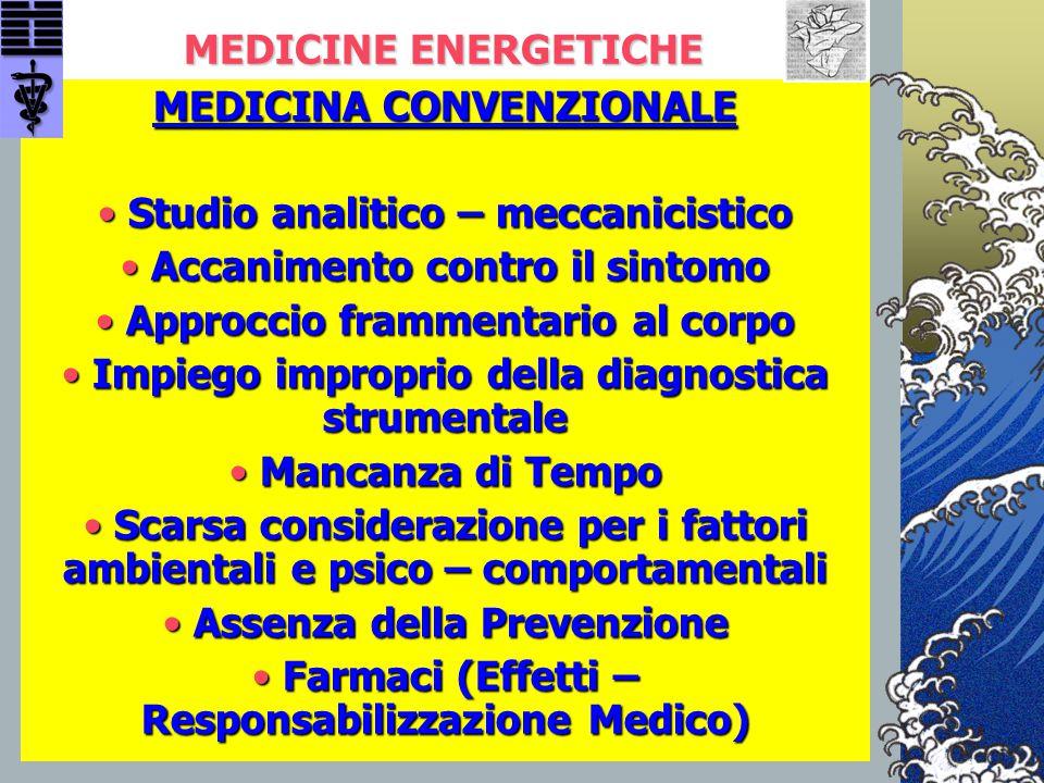 MEDICINA CONVENZIONALE Studio analitico – meccanicistico
