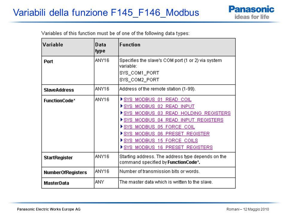 Variabili della funzione F145_F146_Modbus