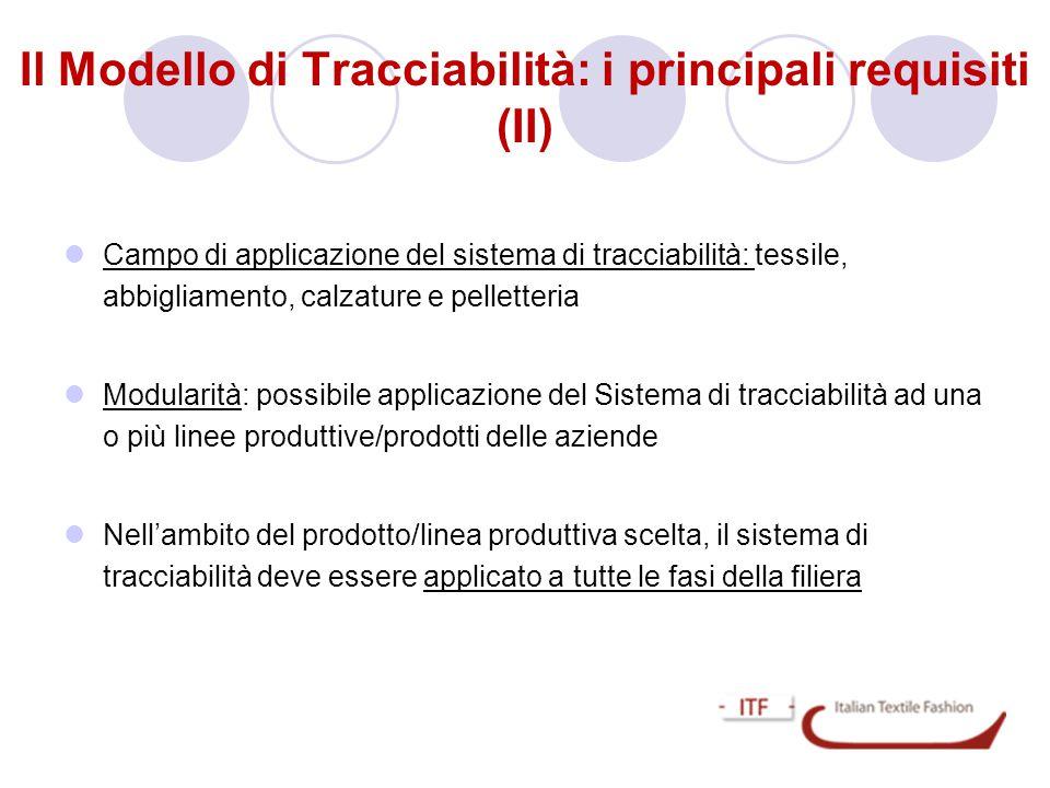 Il Modello di Tracciabilità: i principali requisiti (II)