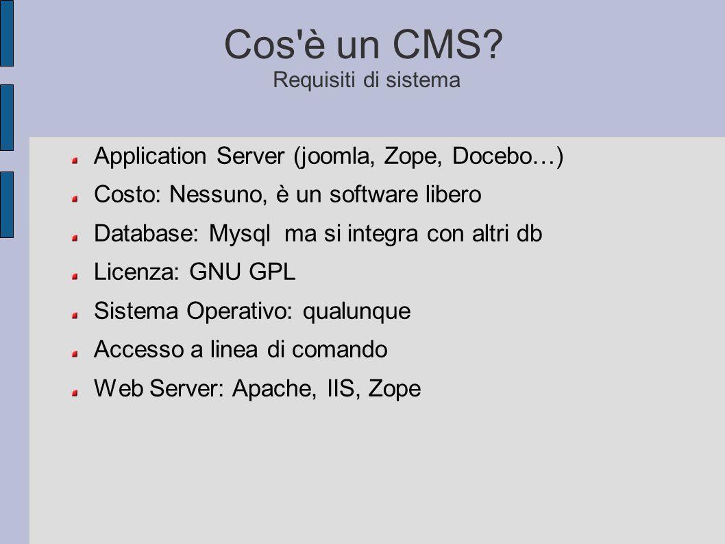 Cos è un CMS Requisiti di sistema