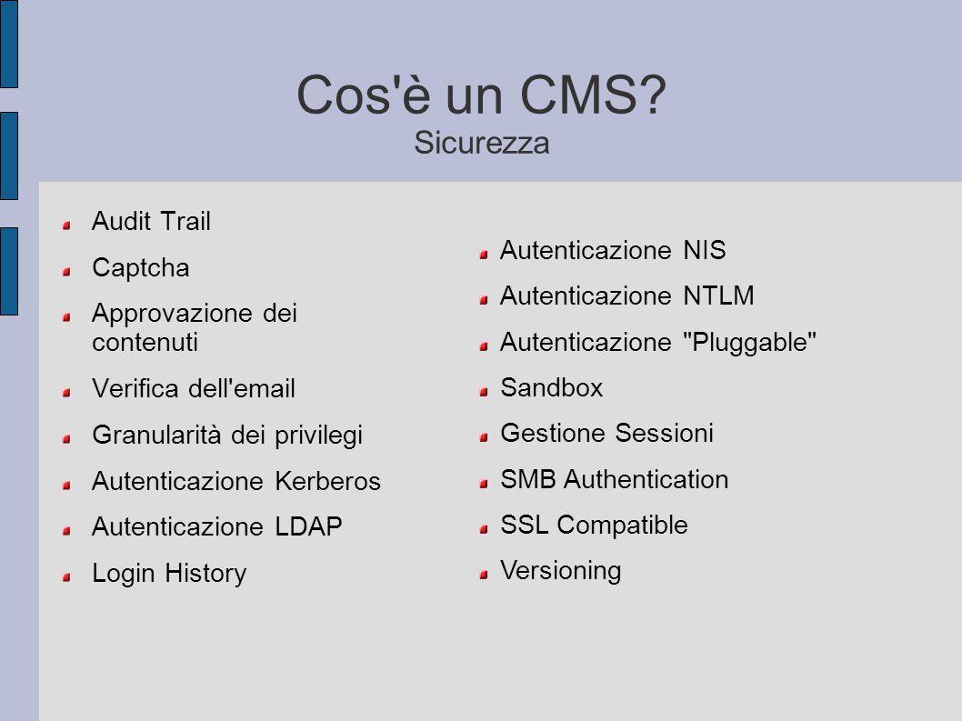 Cos è un CMS Sicurezza Audit Trail Captcha Autenticazione NIS