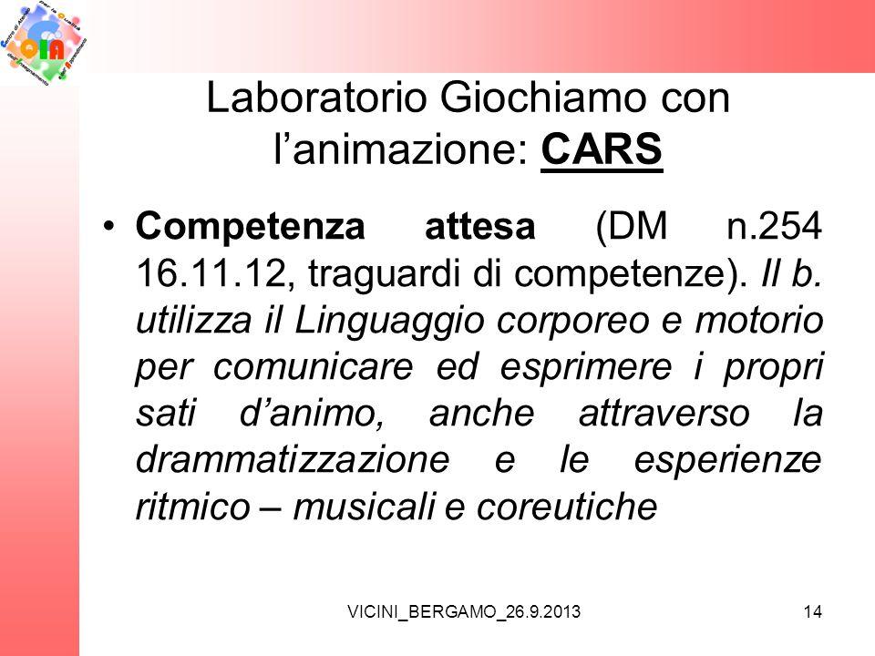 Laboratorio Giochiamo con l'animazione: CARS