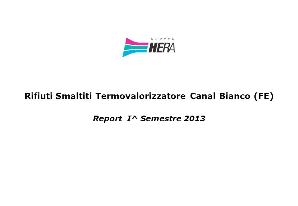 Rifiuti Smaltiti Termovalorizzatore Canal Bianco (FE) Report I^ Semestre 2013