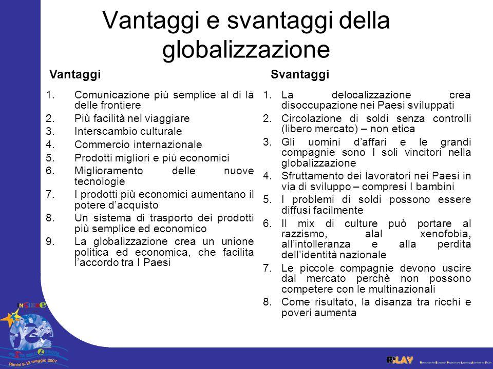 Vantaggi e svantaggi della globalizzazione