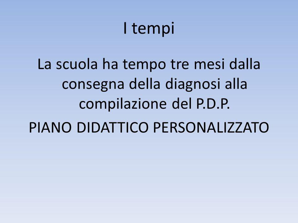 I tempi La scuola ha tempo tre mesi dalla consegna della diagnosi alla compilazione del P.D.P.