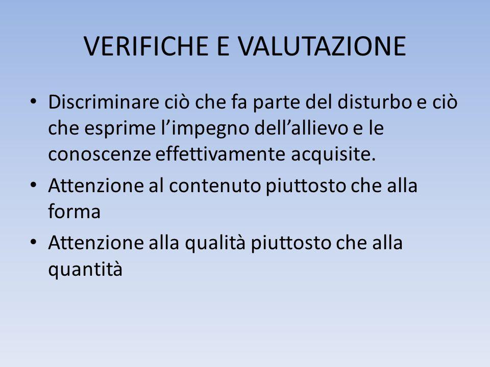 VERIFICHE E VALUTAZIONE