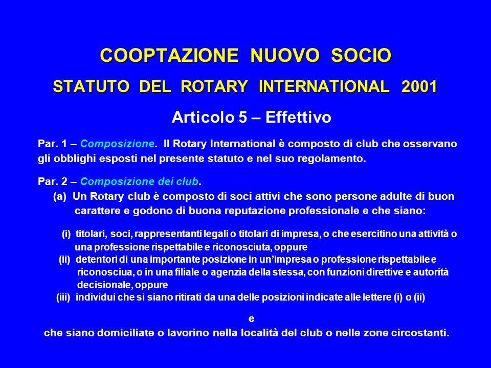 COOPTAZIONE NUOVO SOCIO STATUTO DEL ROTARY INTERNATIONAL 2001