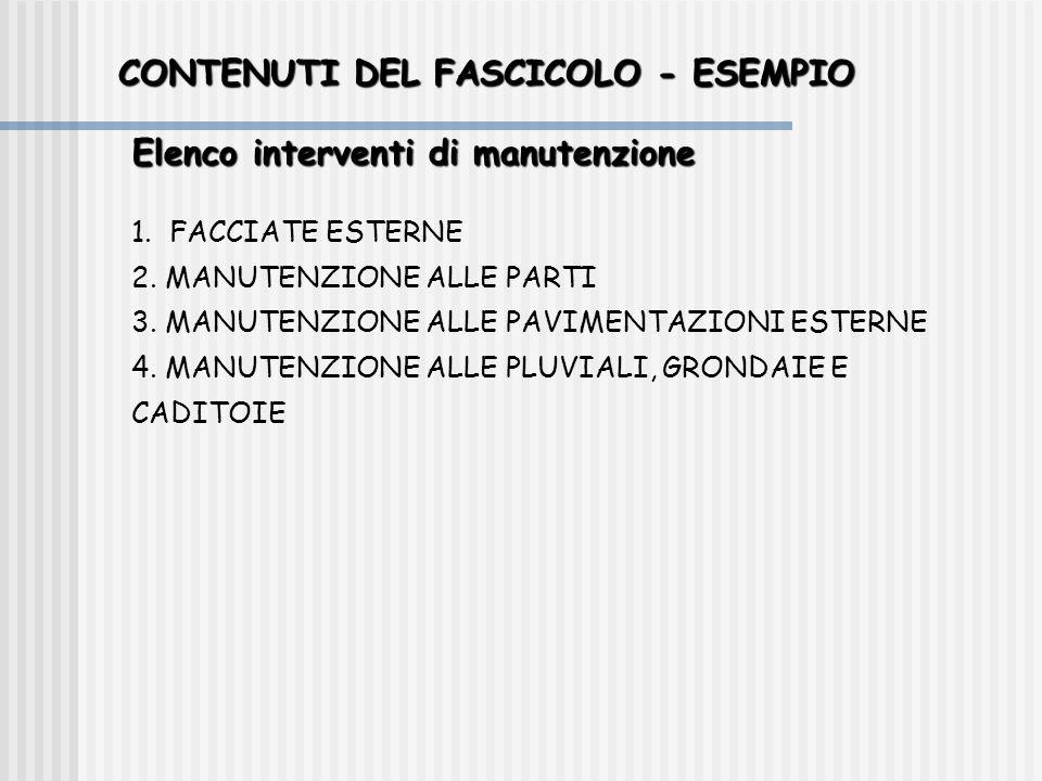CONTENUTI DEL FASCICOLO - ESEMPIO