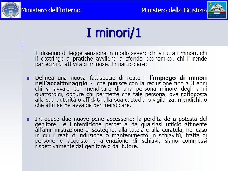 I minori/1 Ministero dell'Interno Ministero della Giustizia