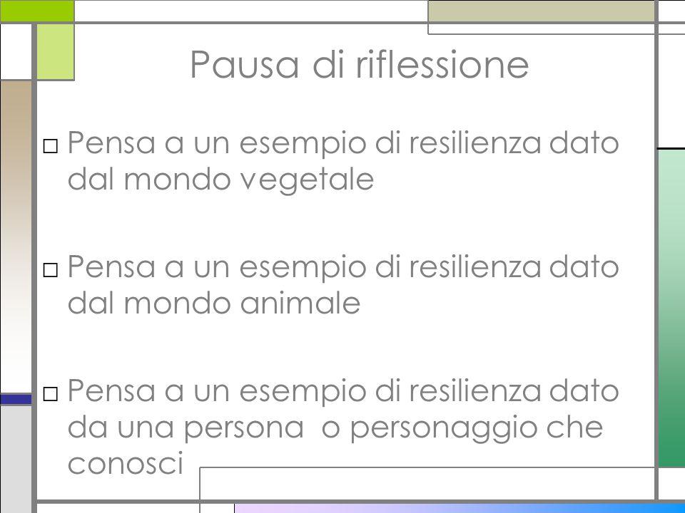 Pausa di riflessione Pensa a un esempio di resilienza dato dal mondo vegetale. Pensa a un esempio di resilienza dato dal mondo animale.