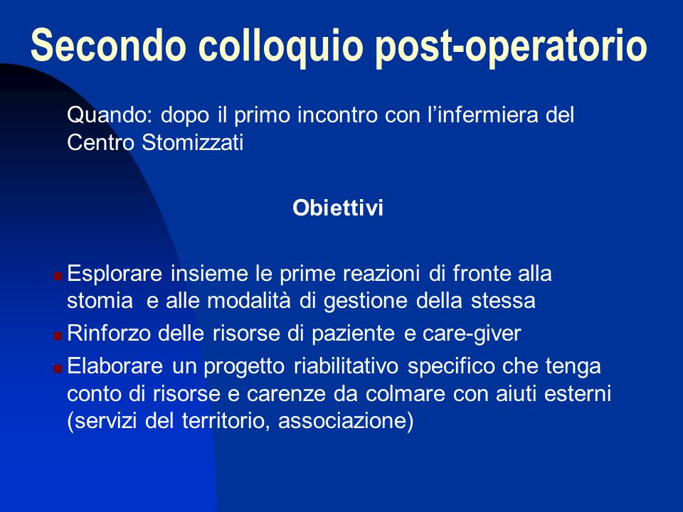 Secondo colloquio post-operatorio