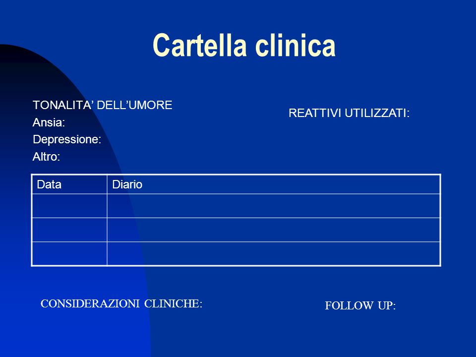 Cartella clinica TONALITA' DELL'UMORE Ansia: Depressione: Altro: