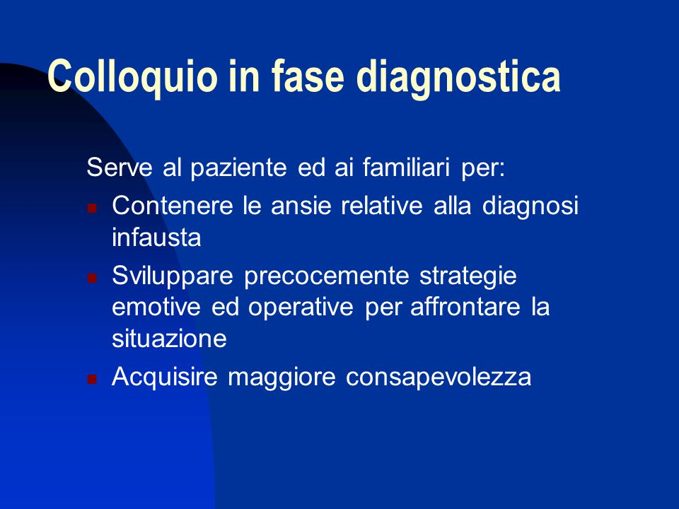 Colloquio in fase diagnostica