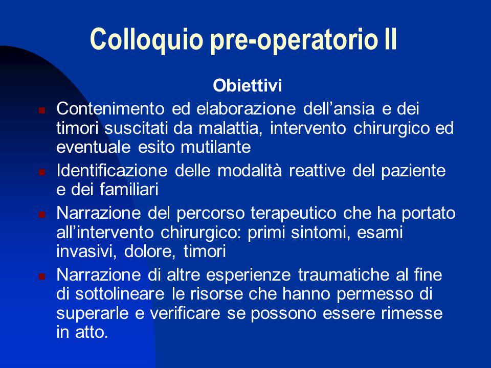 Colloquio pre-operatorio II