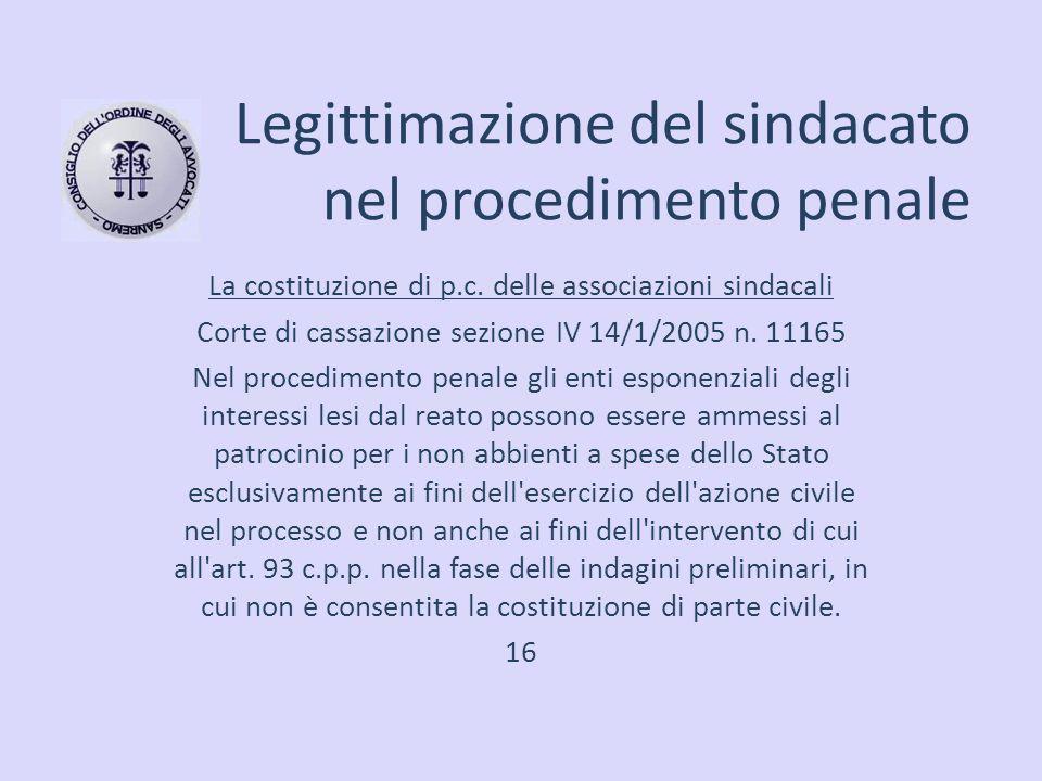 Legittimazione del sindacato nel procedimento penale