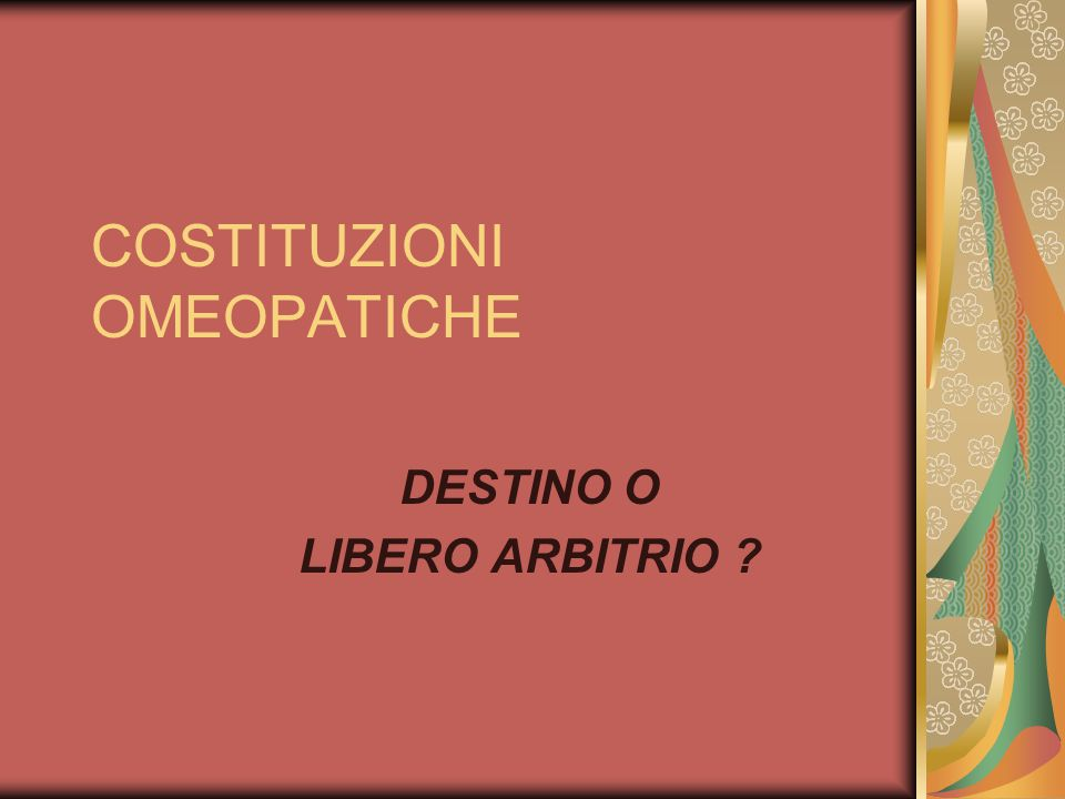 COSTITUZIONI OMEOPATICHE