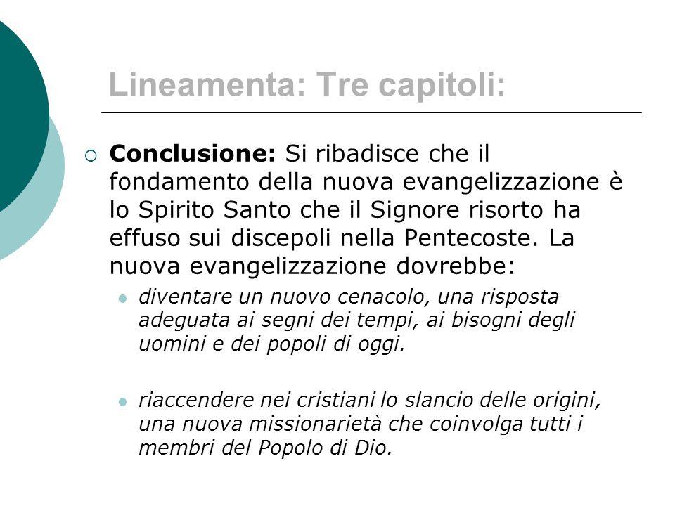 Lineamenta: Tre capitoli:
