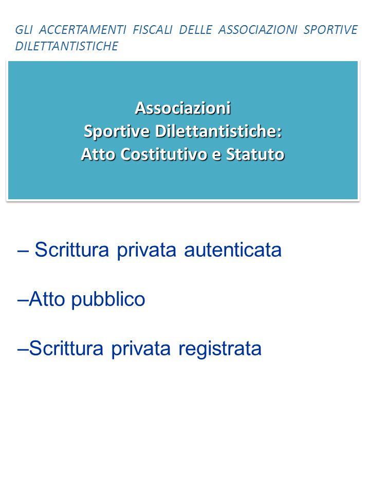 Associazioni Sportive Dilettantistiche: Atto Costitutivo e Statuto