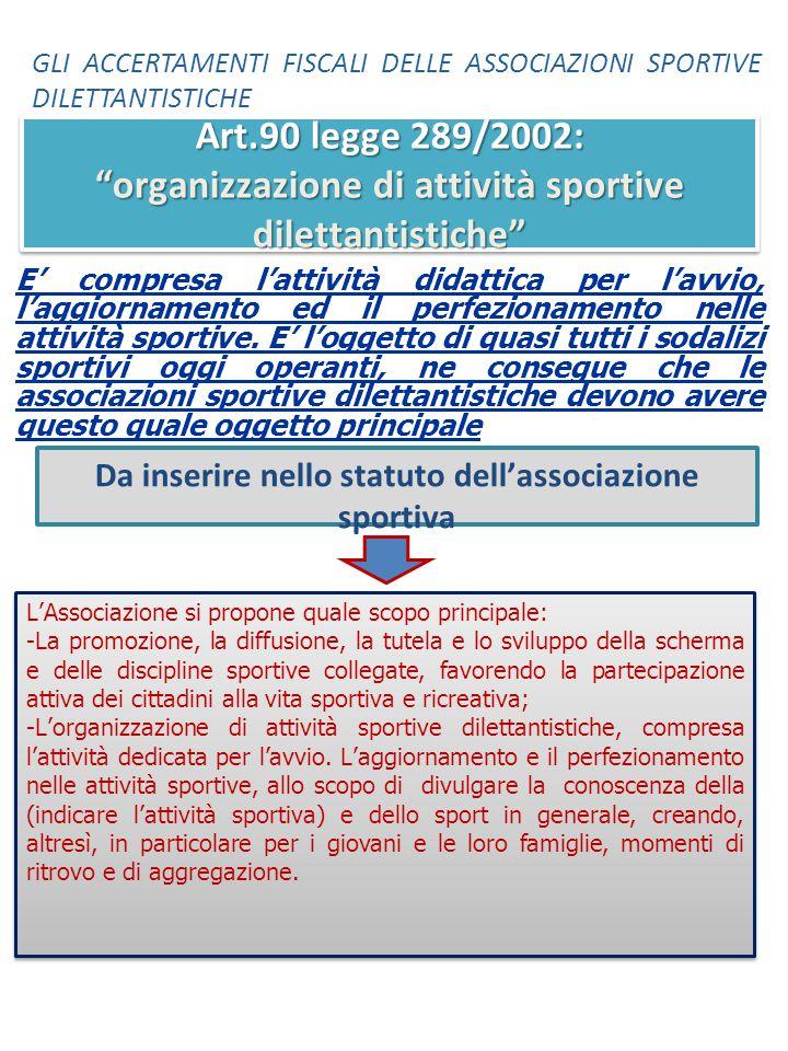 Da inserire nello statuto dell'associazione sportiva