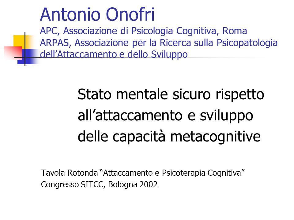 Antonio Onofri APC, Associazione di Psicologia Cognitiva, Roma ARPAS, Associazione per la Ricerca sulla Psicopatologia dell'Attaccamento e dello Sviluppo