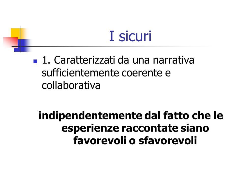 I sicuri 1. Caratterizzati da una narrativa sufficientemente coerente e collaborativa.