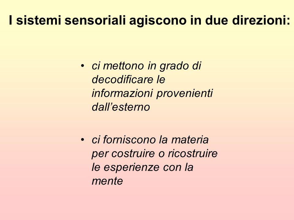 I sistemi sensoriali agiscono in due direzioni: