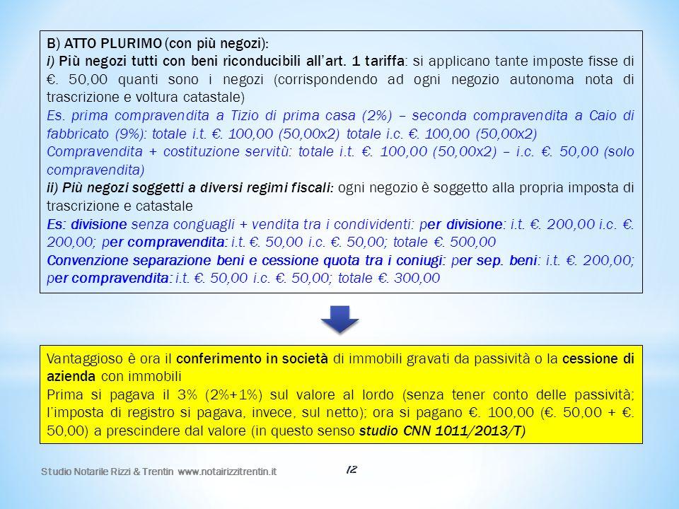 B) ATTO PLURIMO (con più negozi):