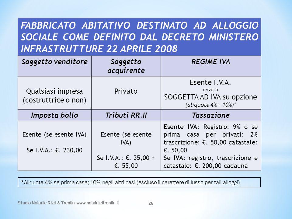 FABBRICATO ABITATIVO DESTINATO AD ALLOGGIO SOCIALE COME DEFINITO DAL DECRETO MINISTERO INFRASTRUTTURE 22 APRILE 2008