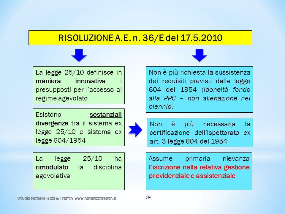 RISOLUZIONE A.E. n. 36/E del 17.5.2010 La legge 25/10 definisce in maniera innovativa i presupposti per l'accesso al regime agevolato.