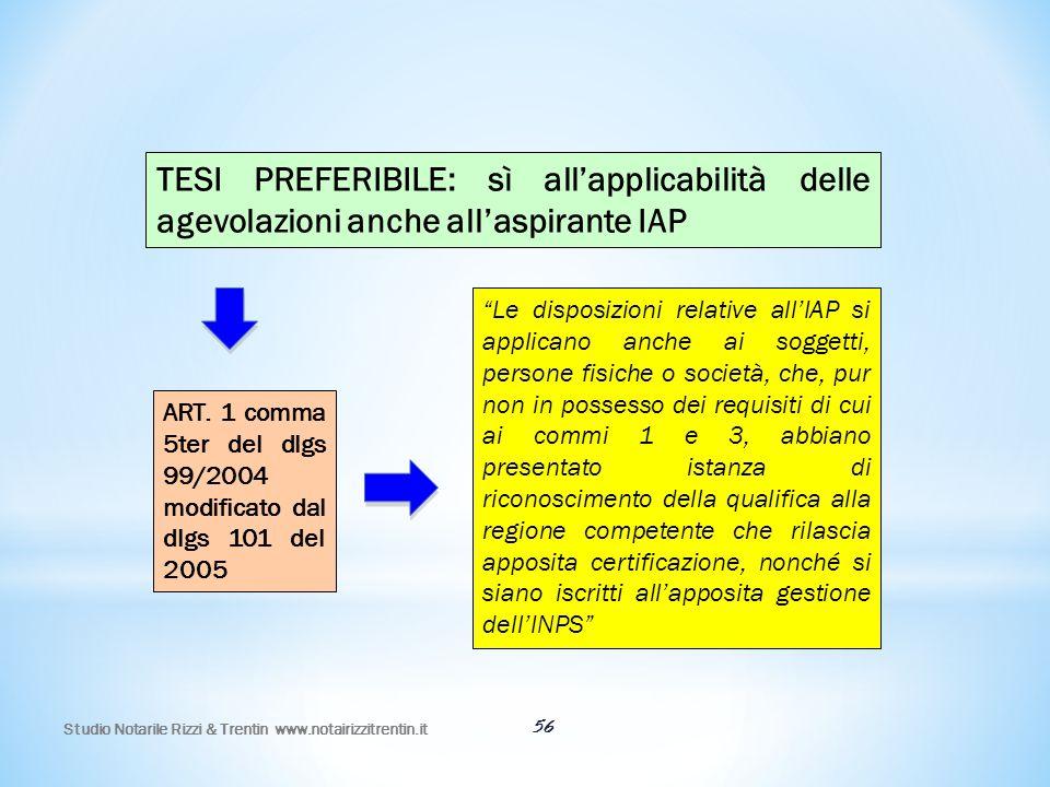 TESI PREFERIBILE: sì all'applicabilità delle agevolazioni anche all'aspirante IAP
