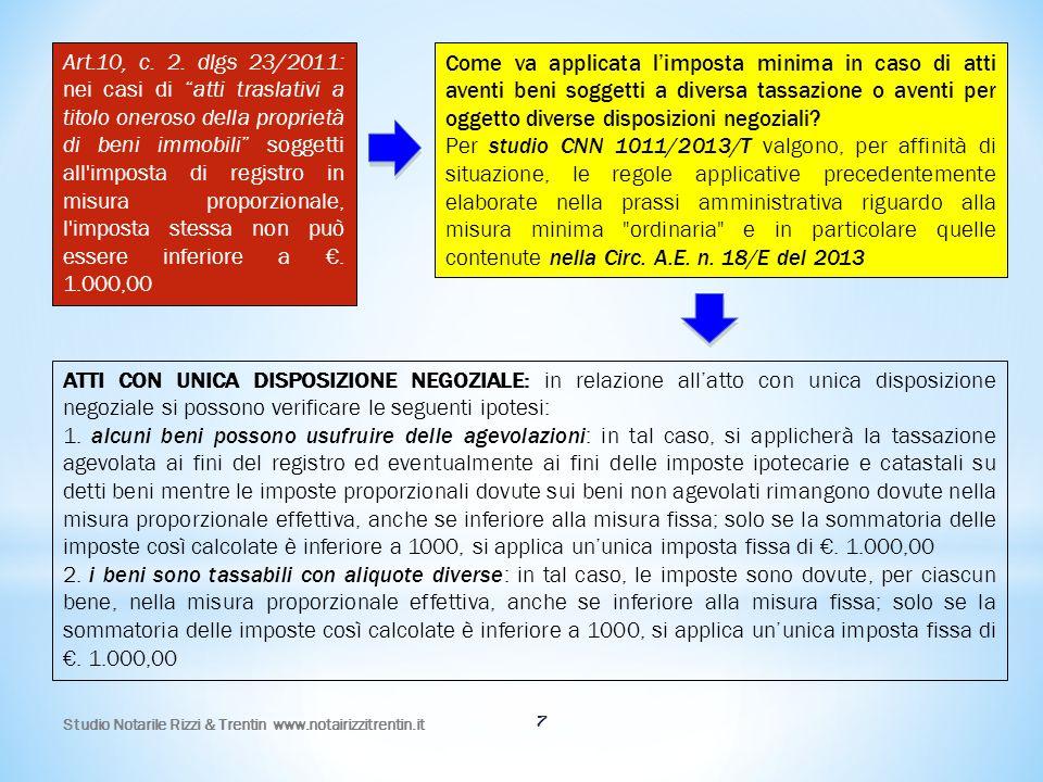 Art.10, c. 2. dlgs 23/2011: nei casi di atti traslativi a titolo oneroso della proprietà di beni immobili soggetti all imposta di registro in misura proporzionale, l imposta stessa non può essere inferiore a €. 1.000,00