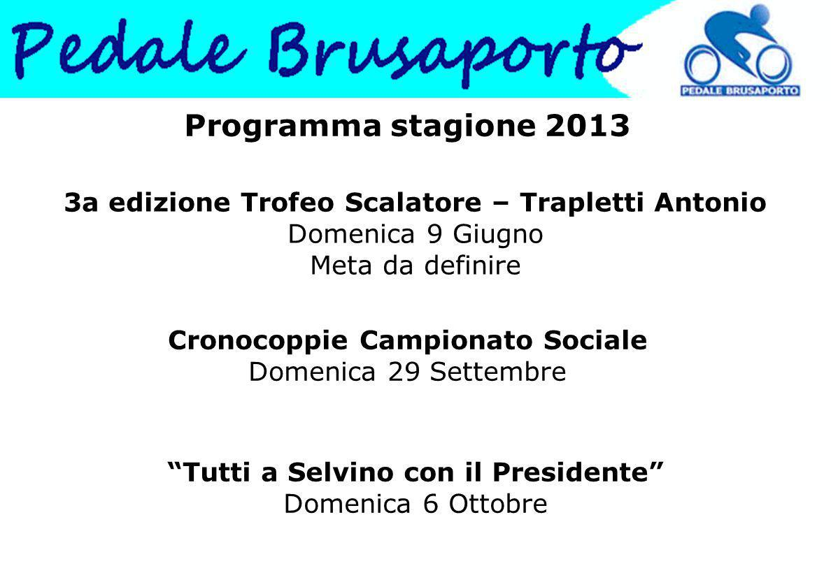 Programma stagione 2013 3a edizione Trofeo Scalatore – Trapletti Antonio Domenica 9 Giugno Meta da definire.