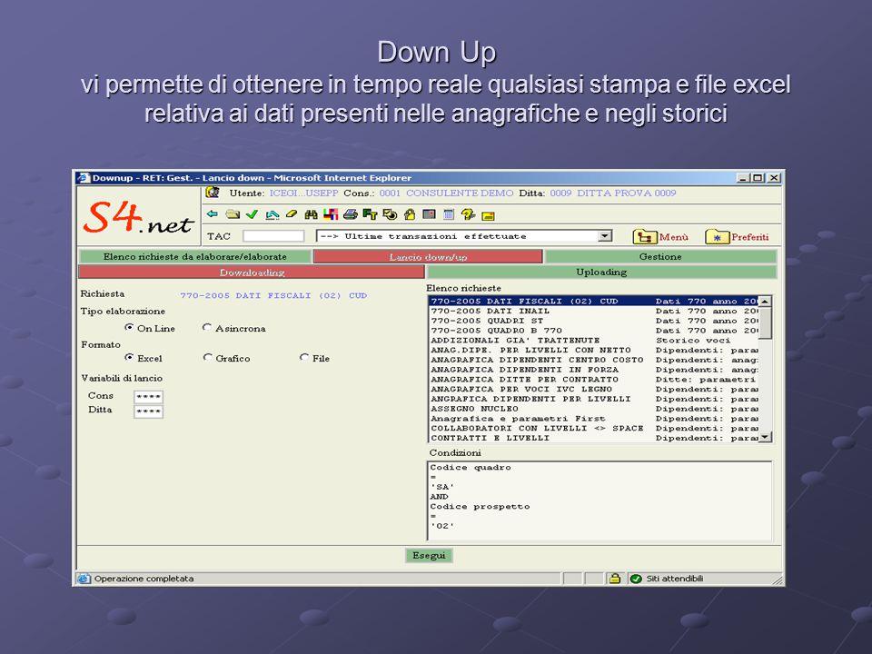 Down Up vi permette di ottenere in tempo reale qualsiasi stampa e file excel relativa ai dati presenti nelle anagrafiche e negli storici
