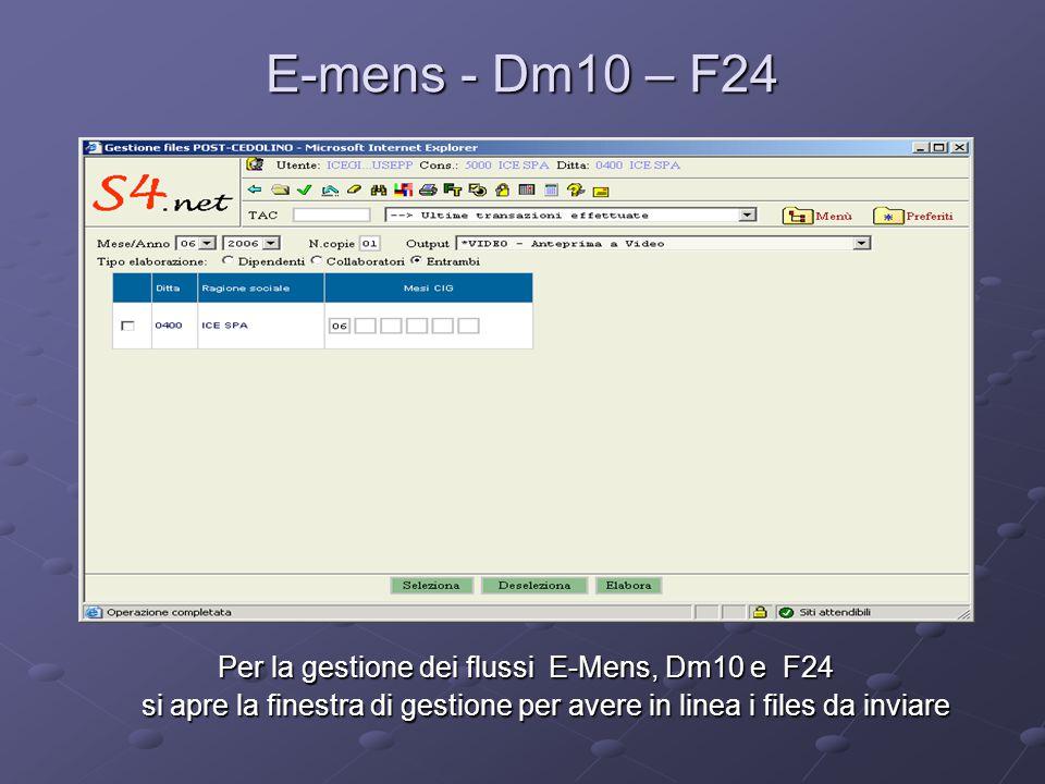E-mens - Dm10 – F24 Per la gestione dei flussi E-Mens, Dm10 e F24