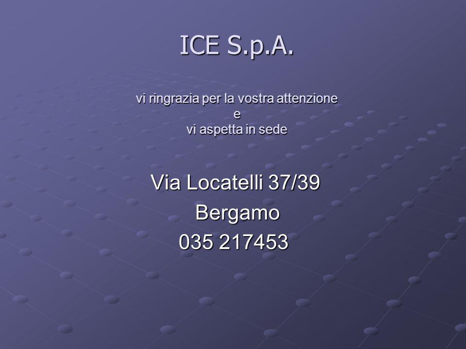 ICE S.p.A. vi ringrazia per la vostra attenzione e vi aspetta in sede