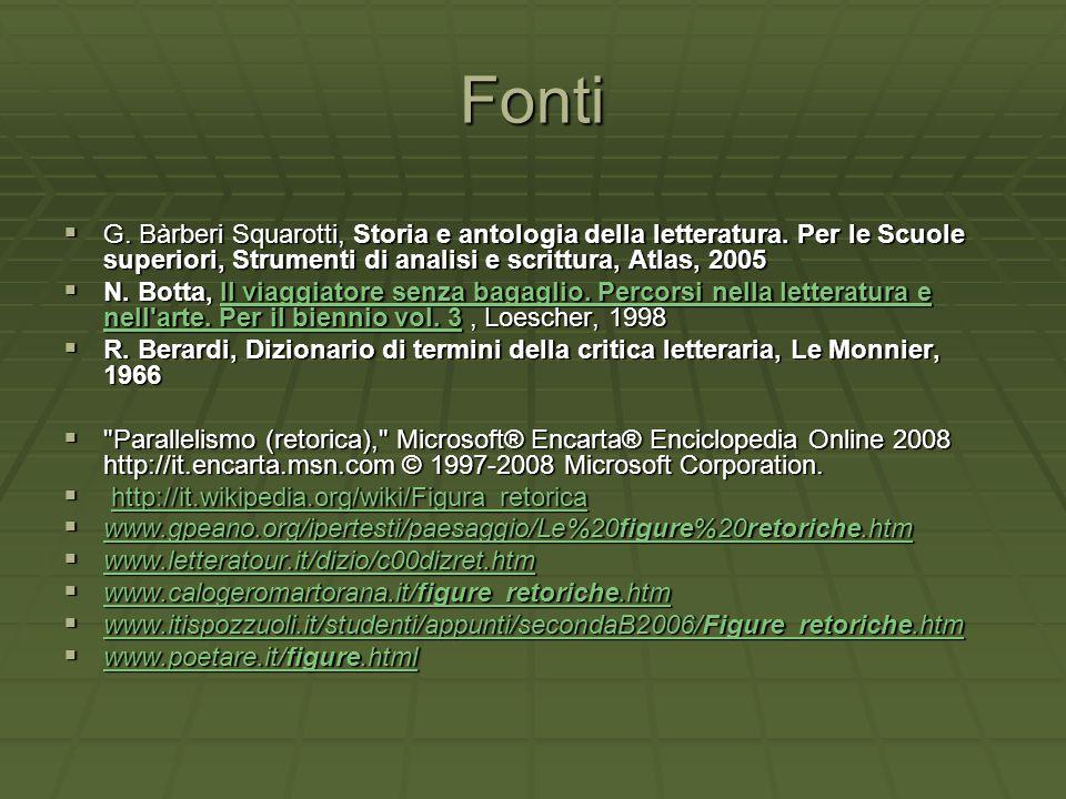 Fonti G. Bàrberi Squarotti, Storia e antologia della letteratura. Per le Scuole superiori, Strumenti di analisi e scrittura, Atlas, 2005.