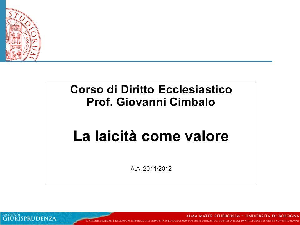 Corso di Diritto Ecclesiastico Prof. Giovanni Cimbalo