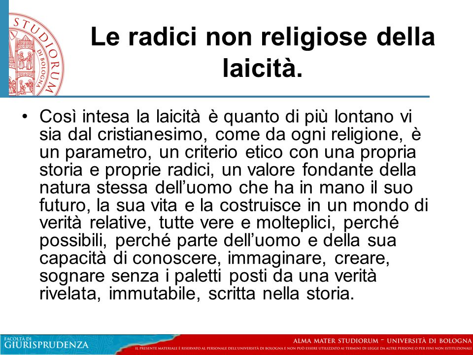 Le radici non religiose della laicità.