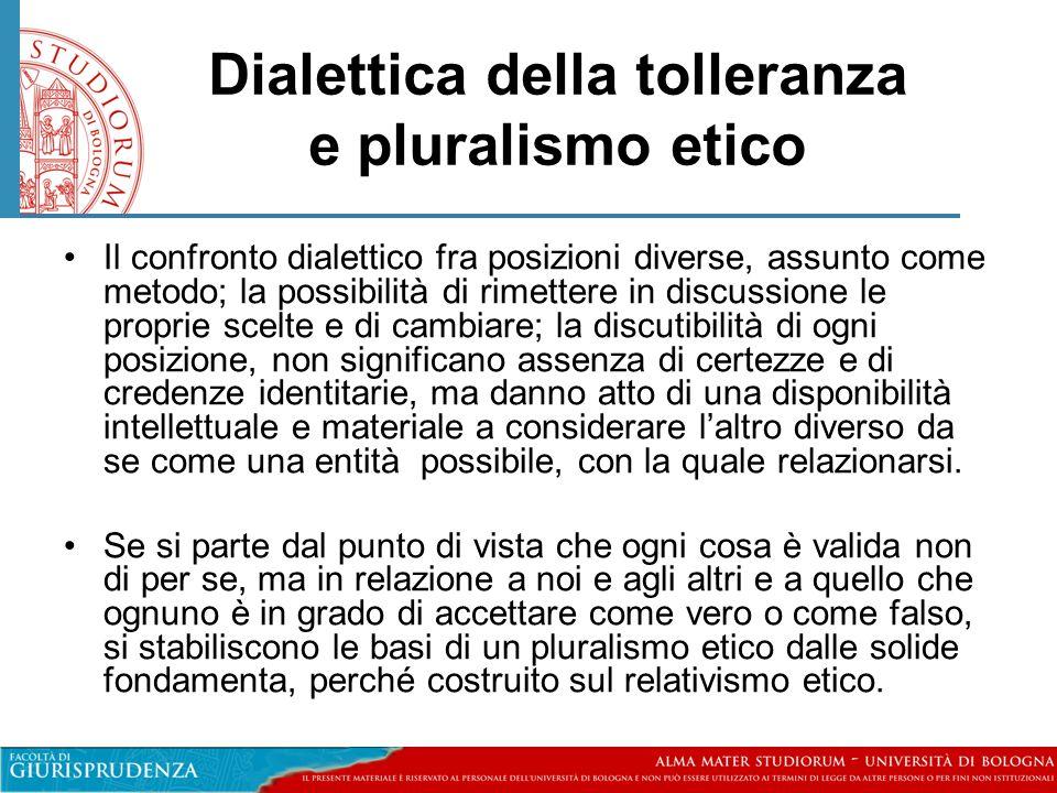 Dialettica della tolleranza e pluralismo etico