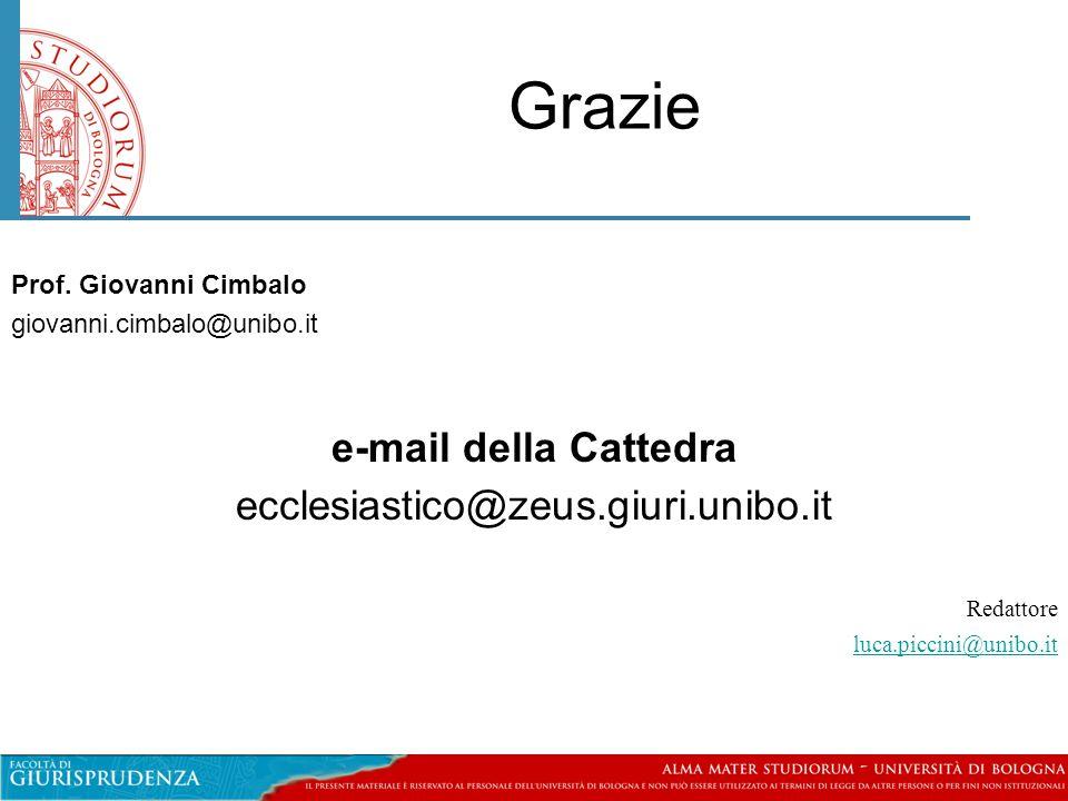 Grazie e-mail della Cattedra ecclesiastico@zeus.giuri.unibo.it