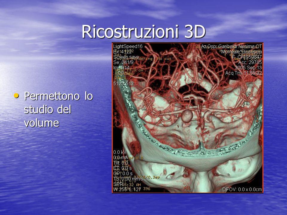 Ricostruzioni 3D Permettono lo studio del volume