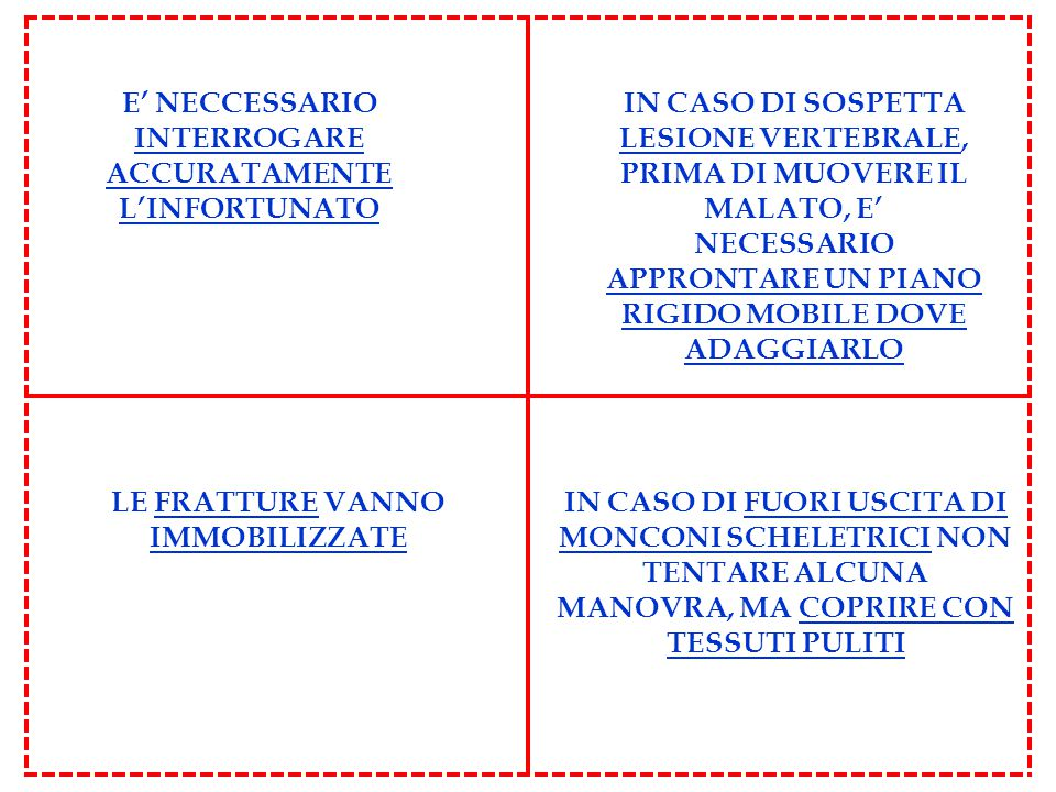 E' NECCESSARIO INTERROGARE ACCURATAMENTE L'INFORTUNATO