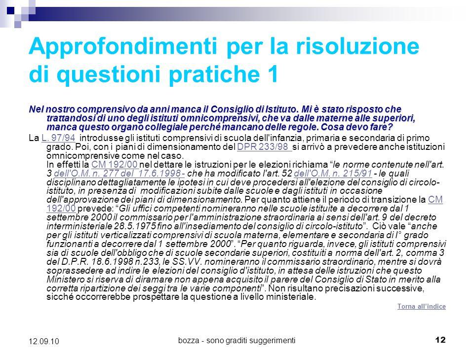 Approfondimenti per la risoluzione di questioni pratiche 1