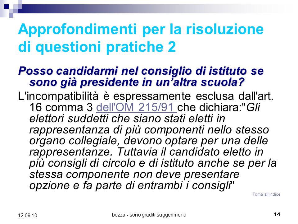 Approfondimenti per la risoluzione di questioni pratiche 2