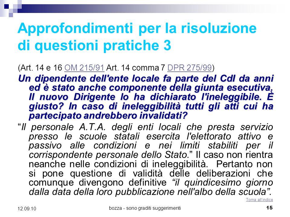 Approfondimenti per la risoluzione di questioni pratiche 3
