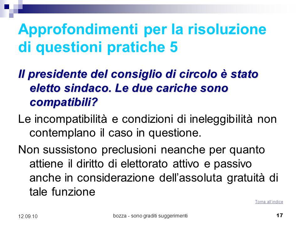 Approfondimenti per la risoluzione di questioni pratiche 5