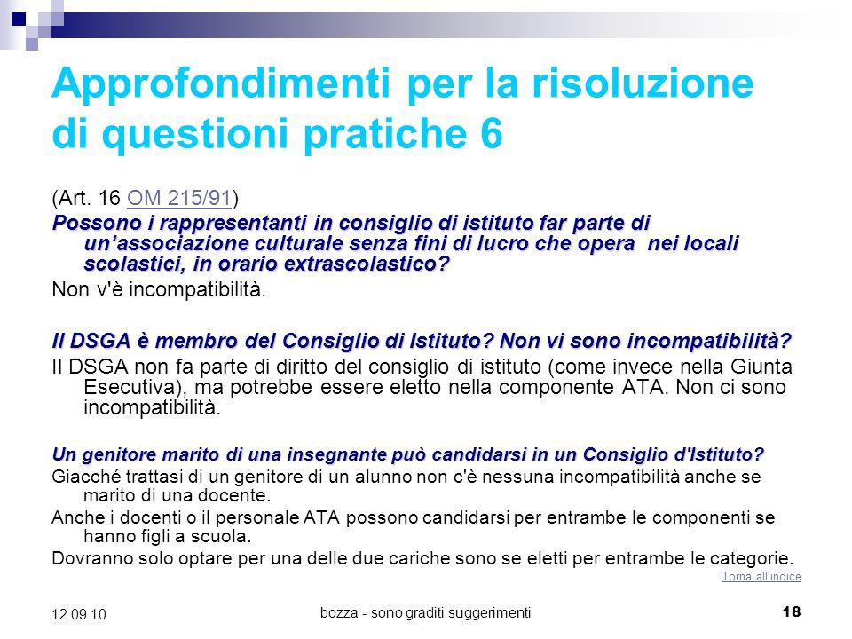 Approfondimenti per la risoluzione di questioni pratiche 6